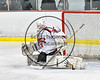Baldwinsville Bees goalie Alex Rose (35) makes a pad save against the Mohawk Valley Raiders in NYSPHSAA Section III Boys Ice Hockey action at the Lysander Ice Arena in Baldwinsville, New York on Tuesday, February 7, 2017. Baldwinsville won 1-0.