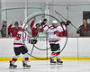 Baldwinsville Bees Chris Speelman (23) celebrates his goal against the Mohawak Valley Raiders in NYSPHSAA Section III Boys Ice Hockey action at the Lysander Ice Arena in Baldwinsville, New York on Tuesday, February 7, 2017. Baldwinsville won 1-0.
