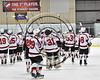 Baldwinsville Bees players salute fellow students, parents and fans after defeating the Mohawk Valley Raiders in NYSPHSAA Section III Boys Ice Hockey action at the Lysander Ice Arena in Baldwinsville, New York on Tuesday, February 7, 2017. Baldwinsville won 1-0.