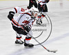Baldwinsville Bees Ryan Gebhardt (20) skating with the puck against the Mohawk Valley Raiders in NYSPHSAA Section III Boys Ice Hockey action at the Lysander Ice Arena in Baldwinsville, New York on Tuesday, February 7, 2017. Baldwinsville won 1-0.
