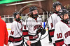 Syracuse Cougars Matt Eccles (6) in line to shake Baldwinsville Bees player's hands in a Section III, Division I Playoff game at the Meachem Ice Rink in Syracuse, New York on Wednesday, February 22, 2017. Syracuse won 3-2 in overtime.