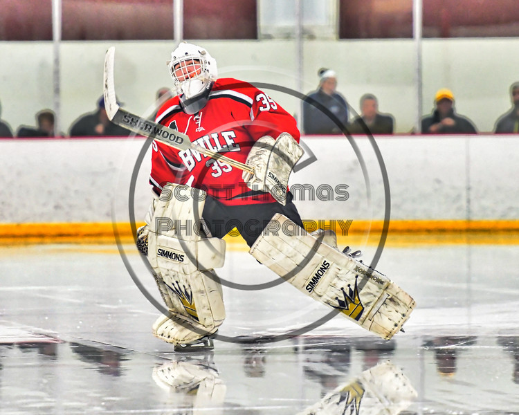 Baldwinsville Bees goalie Alex Rose (35) takes the ice before playing the Syracuse Cougars in a Section III, Division I Playoff game at the Meachem Ice Rink in Syracuse, New York on Wednesday, February 22, 2017.