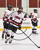 Syracuse Cougars CJ Walsh  (27) being introduced before playing the Baldwinsville Bees in a Section III, Division I Playoff game at the Meachem Ice Rink in Syracuse, New York on Wednesday, February 22, 2017.