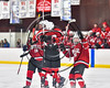 Baldwinsville Bees celebrate Chris Speelman's (23) penalty shot goal against the Syracuse Cougars in a Section III, Division I Playoff game at the Meachem Ice Rink in Syracuse, New York on Wednesday, February 22, 2017. Syracuse won 3-2 in overtime.