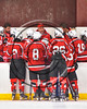 Baldwinsville Bees Head Coach Mark Lloyd talking with his team during a time out against the Syracuse Cougars in a Section III, Division I Playoff game at the Meachem Ice Rink in Syracuse, New York on Wednesday, February 22, 2017. Syracuse won 3-2 in overtime.