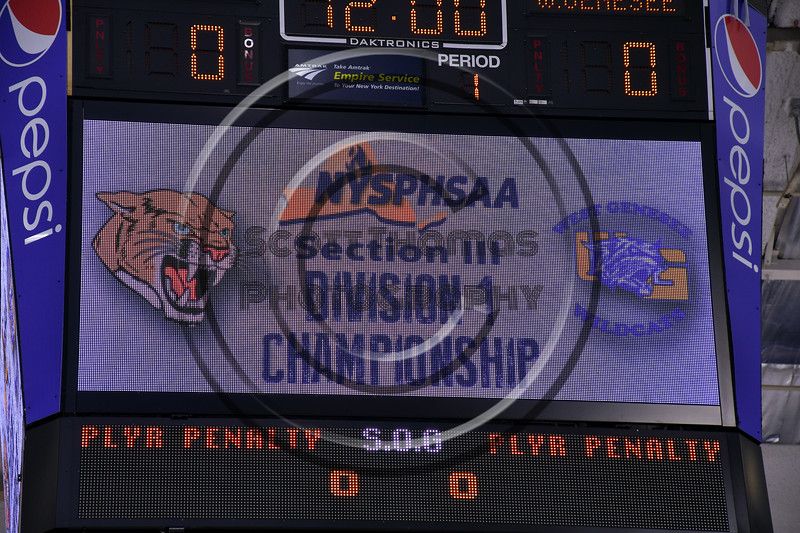 West Genesee Wildcats host the Syracuse Cougars in the Section III, Division I Championship game at the War Memorial Arena in Syracuse, New York on Saturday, February 25, 2017.