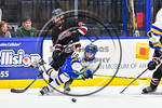West Genesee Wildcats Patrick McDonald (18) gets checked by Syracuse Cougars Matt Frye (21) in the Section III, Division I Boys Ice Hockey Championship game at the War Memorial Arena in Syra ...