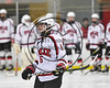 Baldwinsville Bees Isaiah Pompo (5) being introduced before playing the Watertown IHC Cavaliers in a NYSPHSAA Section III Boys Ice hockey game at the Lysander Ice Arena in Baldwinsville, New York on Tuesday, November 28, 2017.