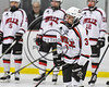 Baldwinsville Bees Ryan Muscatello (3) being introduced before playing the Watertown IHC Cavaliers in a NYSPHSAA Section III Boys Ice hockey game at the Lysander Ice Arena in Baldwinsville, New York on Tuesday, November 28, 2017.