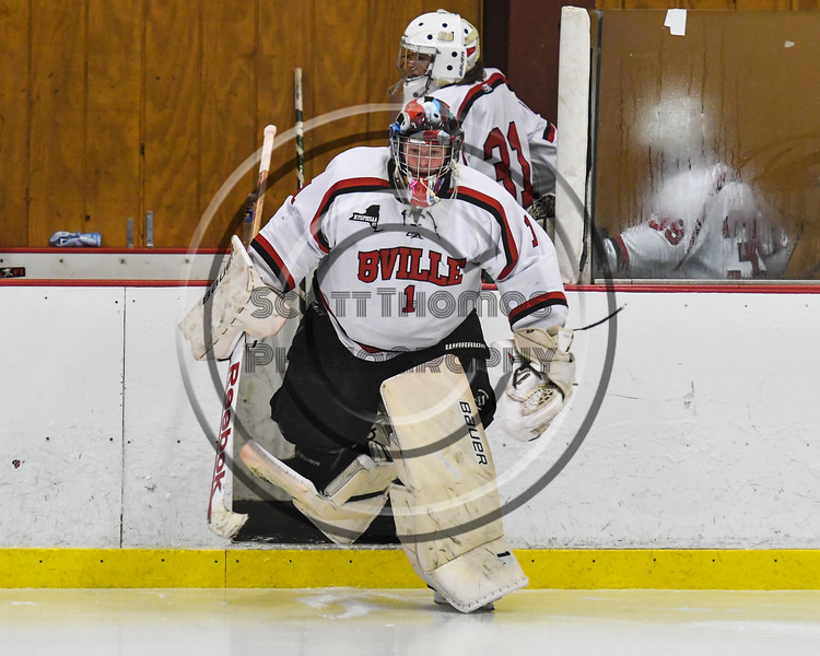 Baldwinsville Bees goalie Josh Smith (1) leads his team on to the ice before playing the Watertown IHC Cavaliers in NYSPHSAA Section III Boys Ice hockey action at the Lysander Ice Arena in Baldwinsville, New York on Tuesday, November 28, 2017.