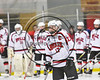 Baldwinsville Bees Ben Dwyer (17) being introduced before playing the Watertown IHC Cavaliers in a NYSPHSAA Section III Boys Ice hockey game at the Lysander Ice Arena in Baldwinsville, New York on Tuesday, November 28, 2017.