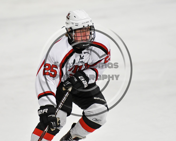 Baldwinsville Bees Jamey Natoli (25) on the ice against the Rome Free Academy Black Knights in NYSPHSAA Section III Boys Ice hockey action at the Lysander Ice Arena in Baldwinsville, New York on Tuesday, December 5, 2017. Baldwinsville won 5-0.