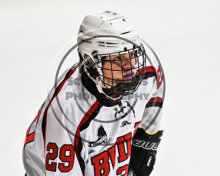 Baldwinsville Bees Cody McCarthy (29) before a face-off against the Rome Free Academy Black Knights in NYSPHSAA Section III Boys Ice hockey action at the Lysander Ice Arena in Baldwinsville, New York on Tuesday, December 5, 2017. Baldwinsville won 5-0.