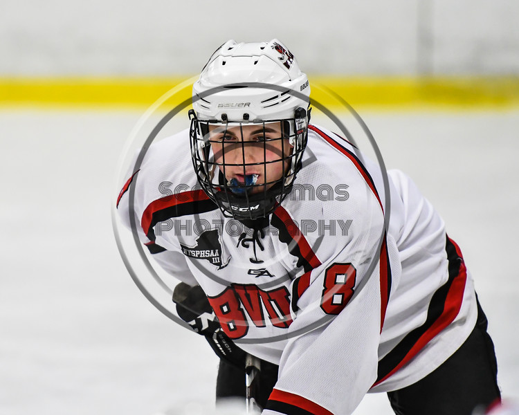 Baldwinsville Bees Parker Schroeder (8) before a face-off against the Rome Free Academy Black Knights in NYSPHSAA Section III Boys Ice hockey action at the Lysander Ice Arena in Baldwinsville, New York on Tuesday, December 5, 2017. Baldwinsville won 5-0.