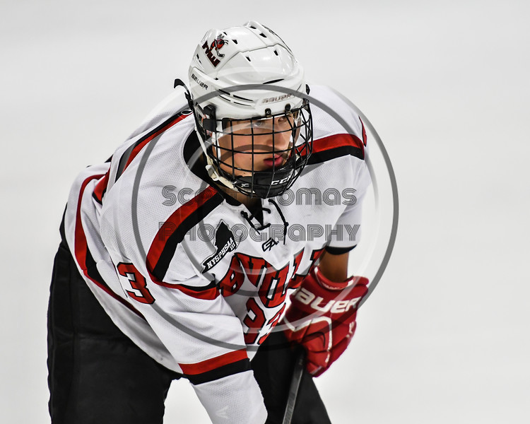 Baldwinsville Bees Christian Treichler (33) before a face-off against the Rome Free Academy Black Knights in NYSPHSAA Section III Boys Ice hockey action at the Lysander Ice Arena in Baldwinsville, New York on Tuesday, December 5, 2017. Baldwinsville won 5-0.