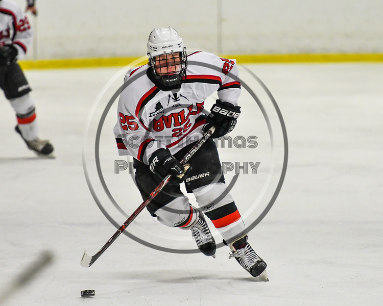 Baldwinsville Bees Jamey Natoli (25) skating the puck up ice against the Rome Free Academy Black Knights in NYSPHSAA Section III Boys Ice hockey action at the Lysander Ice Arena in Baldwinsville, New York on Tuesday, December 5, 2017. Baldwinsville won 5-0.