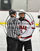 Baldwinsville Bees Isaiah Pompo (5) talking with a referee before the third period against the Rome Free Academy Black Knights in NYSPHSAA Section III Boys Ice hockey action at the Lysander Ice Arena in Baldwinsville, New York on Tuesday, December 5, 2017. Baldwinsville won 5-0.