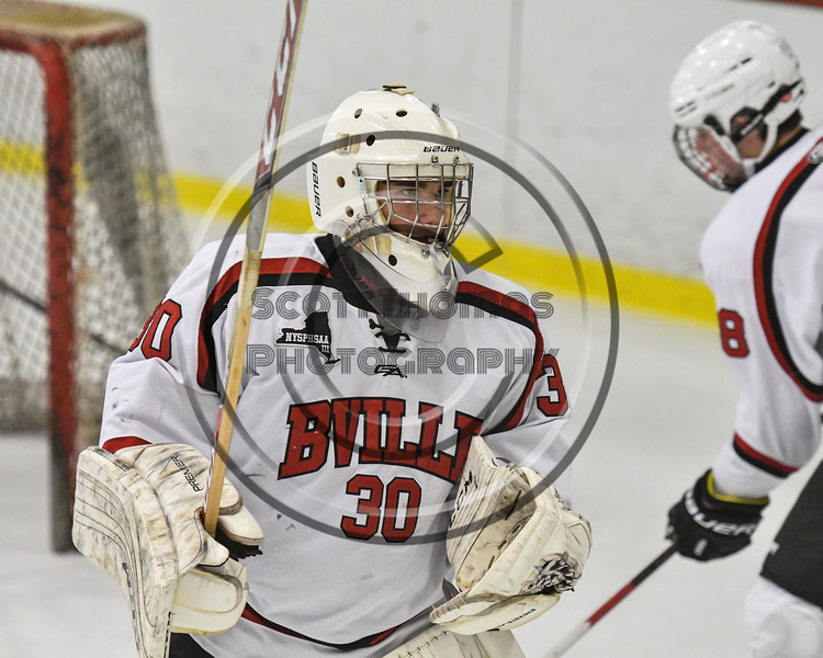 Baldwinsville Bees goalie Jeremy Rappard (30) during pre-game warm ups before playing the Rome Free Academy Black Knights in NYSPHSAA Section III Boys Ice hockey action at the Lysander Ice Arena in Baldwinsville, New York on Tuesday, December 5, 2017.