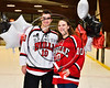 Baldwinsville Bees Brett Sabourin (10) honors Mrs. Meany on Teacher Appreciation Night at the Lysander Ice Arena in Baldwinsville, New York on Tuesday, January 9, 2018.