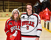 Baldwinsville Bees Ryan Muscatello (3) honors Ms. Mathis on Teacher Appreciation Night at the Lysander Ice Arena in Baldwinsville, New York on Tuesday, January 9, 2018.