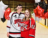 Baldwinsville Bees Alexander Pompo (12) honors Mrs. Stolz on Teacher Appreciation Night at the Lysander Ice Arena in Baldwinsville, New York on Tuesday, January 9, 2018.