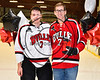 Baldwinsville Bees Ryan Gillespie (7) honors Mr. Ludden on Teacher Appreciation Night at the Lysander Ice Arena in Baldwinsville, New York on Tuesday, January 9, 2018.