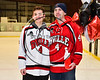 Baldwinsville Bees Quinn Sweeney (4) honors Mr.Berler on Teacher Appreciation Night at the Lysander Ice Arena in Baldwinsville, New York on Tuesday, January 9, 2018.
