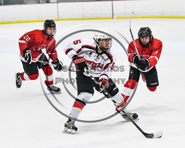 Baldwinsville Bees Isaiah Pompo (5) with the puck against the Fulton Red Raiders in NYSPHSAA Section III Boys Ice hockey action at the Lysander Ice Arena in Baldwinsville, New York on Tuesday, January 9, 2018. Baldwinsville won 9-1.