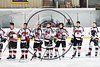 Baldwinsville Bees lined up for the Nation Anthe before playing host the Fulton Red Raiders in a NYSPHSAA Section III Boys Ice hockey game at the Lysander Ice Arena in Baldwinsville, New York on Tuesday, January 9, 2018.
