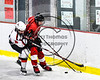 Baldwinsville Bees Nick Glamos (14) checking Fulton Red Raiders Kevin VanBuren (3) in NYSPHSAA Section III Boys Ice hockey action at the Lysander Ice Arena in Baldwinsville, New York on Tuesday, January 9, 2018. Baldwinsville won 9-1.