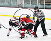 Baldwinsville Bees Mark Monaco (22) facing off against Fulton Red Raiders in NYSPHSAA Section III Boys Ice hockey action at the Lysander Ice Arena in Baldwinsville, New York on Tuesday, January 9, 2018. Baldwinsville won 9-1.