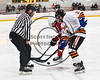 Baldwinsville Bees Mark Monaco (22) faces off against RFA Black Knights Jake Hall (2) in Section III Boys Ice Hockey action at the John F. Kennedy Arena in Rome, New York on Tuesday, January 23, 2018. Baldwinsville won 4-2.