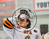 RFA Black Knights goalie Ethan Siderine (31) puts his mask on before the start of a Section III Boys Ice Hockey game against the Baldwinsville Bees at the John F. Kennedy Arena in Rome, New York on Tuesday, January 23, 2018.