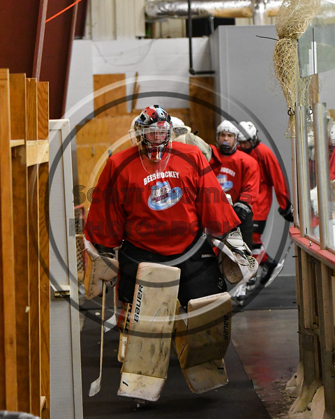 Baldwinsville Bees goalie Josh Smith (1) leads his team onto the ice before playing the Whitesboro Warriors in a NYSPHSAA Section III Boys Ice hockey game at the Lysander Ice Arena in Baldwinsville, New York on Saturday, January 27, 2018.