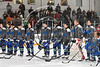 Cicero-North Syracuse Northstars players standing for the National Anthem before playing the Baldwinsville Bees in a Section III Boys Ice Hockey game at the Cicero Twin Rinks in Cicero, New York on Tuesday, January 30, 2018.
