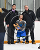 Cicero-North Syracuse Northstars Rickey Reilly (21) getting a plaque celebrating his first goal for the Norhtstars at the Cicero Twin Rinks in Cicero, New York on Tuesday, January 30, 2018.