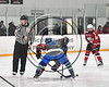 Baldwinsville Bees and Cicero-North Syracuse Northstars face-off to start a Section III Boys Ice Hockey game at the Cicero Twin Rinks in Cicero, New York on Tuesday, January 30, 2018. Baldwinsville won 1-0.