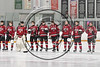Baldwinsville Bees standing for the National Anthem bdfore playing the Cicero-North Syracuse Northstars in a Section III Boys Ice Hockey game at the Cicero Twin Rinks in Cicero, New York on Tuesday, January 30, 2018.