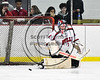 Baldwinsville Bees goalie Josh Smith (1) makes a save against the Mohawk Valley Raiders in NYSPHSAA Section III Boys Ice hockey playoff action at the Lysander Ice Arena in Baldwinsville, New York on Friday, February 16, 2018. Baldwinsville won 3-2.