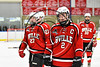 Baldwinsville Bees Tanner McCaffrey (2) after scoring the winning shootout goal against the West Genesee Wildcats in NYSPHSAA Section III Boys Ice hockey playoff action at Shove Park in Camillus, New York on Wednesday, February 21, 2018. Baldwinsville won 2-1 in a Shootout.