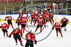 Baldwinsville Bees players swarm Tanner McCaffrey (2) after he scored the winning shootout goal against  the West Genesee Wildcats in NYSPHSAA Section III Boys Ice hockey playoff action at Shove Park in Camillus, New York on Wednesday, February 21, 2018. Baldwinsville won 2-1 in a Shootout.