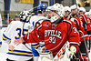 Baldwinsville Bees goalie Jeremy Rappard (30) shakes hands with West Genesee Wildcats players after the Bees won a NYSPHSAA Section III Boys Ice hockey playoff game at Shove Park in Camillus, New York on Wednesday, February 21, 2018. Baldwinsville won 2-1 in a Shootout.