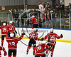 Baldwinsville Bees Tanner McCaffrey (2) jumps into the glass after scoring the winning shootout goal against the West Genesee Wildcats in NYSPHSAA Section III Boys Ice hockey playoff action at Shove Park in Camillus, New York on Wednesday, February 21, 2018. Baldwinsville won 2-1 in a Shootout.