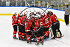 Baldwinsville Bees huddle up before playing the West Genesee Wildcats in a NYSPHSAA Section III Boys Ice hockey playoff game at Shove Park in Camillus, New York on Wednesday, February 21, 2018.