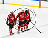Baldwinsville Bees Isaiah Pompo (5), Alex Schmidt (19) and Tanner McCaffrey (2) being introduced before playing the West Genesee Wildcats in a NYSPHSAA Section III Boys Ice hockey playoff game at Shove Park in Camillus, New York on Wednesday, February 21, 2018.