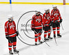Baldwinsville Bees Brett Sabourin (10), Alex Schmidt (19), Tanner McCaffrey (2) and Ben Dwyer (17) being introduced before playing the West Genesee Wildcats in a NYSPHSAA Section III Boys Ice hockey playoff game at Shove Park in Camillus, New York on Wednesday, February 21, 2018.