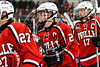 Baldwinsville Bees Tanner McCaffrey (2) shakes hands with West Genesee Wildcats players after the Bees won a NYSPHSAA Section III Boys Ice hockey playoff game at Shove Park in Camillus, New York on Wednesday, February 21, 2018. Baldwinsville won 2-1 in a Shootout.