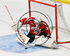 Baldwinsville Bees goalie Jeremy Rappard (30) kept the puck ouf the of net against the West Genesee Wildcats in NYSPHSAA Section III Boys Ice hockey playoff shootout action at Shove Park in Camillus, New York on Wednesday, February 21, 2018. Baldwinsville won 2-1 in a Shootout.