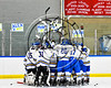 West Genesee Wildcats huddle after pre-game warm-ups before playing the Baldwinsville Bees in a NYSPHSAA Section III Boys Ice hockey playoff game at Shove Park in Camillus, New York on Wednesday, February 21, 2018.