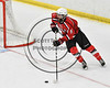 Baldwinsville Bees Isaiah Pompo (5) looking to make a play against the West Genesee Wildcats in NYSPHSAA Section III Boys Ice hockey playoff action at Shove Park in Camillus, New York on Wednesday, February 21, 2018. Baldwinsville won 2-1 in a Shootout.